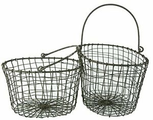 """Set of 2 Gray Metal Wire Display Basket Bin with Handles, Large 10"""", Small 8.75"""""""
