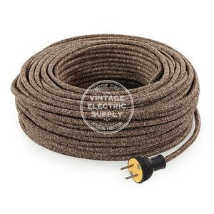 Brown Linen Cordset - Cloth Covered Round Rewire Set - Antique Lamp & Fan Cord