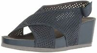 SoftWalk Women's Hansford Comfort Wedge Sandals - Blue Perforated Leather - US 9