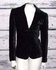 TAHARI~BLACK~SOFT VELVET *FLORAL EMBROIDERY* EQUESTRIAN DRESS BLAZER~M (8-10)