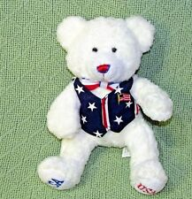 "8"" CARLTON CARDS USA TEDDY BEAR White Plush Bean Bag Stars Stripes Vest Flag"
