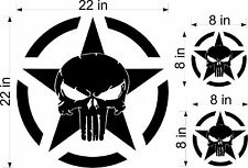 "22"" Punisher Army Star decal Vinyl military hood graphic body Jeep Dodge"