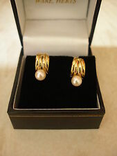 PAIR OF 9 CARAT GOLD CULTURED PEARL FANCY STUD EARRINGS MADE IN UK BRAND NEW