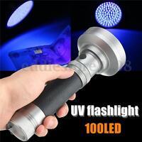 100LED UV Ultra Violet Blacklight Flashlight Light Inspection Lamp Torch Outdoor