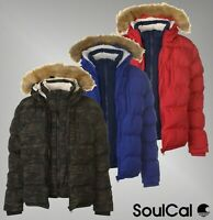 Mens SoulCal Padded Warmth Pockets Top 2 Zip Bubble Jacket Sizes S-XXXL