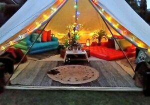 3/4/5/6/7M Cotton Canvas Bell Tent Camping Stove Hole Waterproof Outdoors Yurts