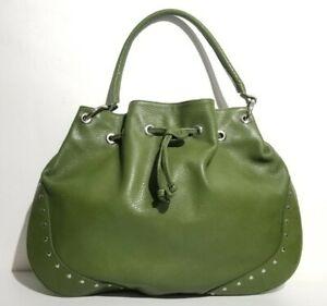 Rare Furla Avocado Green Leather Large Riveted Hobo Bag