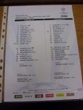 04/04/2007 COLORI teamsheet: Chelsea V Valencia [] CHAMPIONS LEAGUE (emissione UEFA).