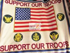 FLEECE PRINTED FABRIC USA - American Flag Support Our Troops - BY THE PANEL 892