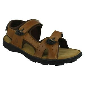AVERY HUSH PUPPIES MENS BROWN LEATHER CASUAL STRAP SPORT BEACH SUMMER SANDALS