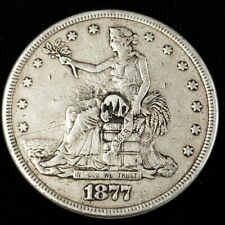 1877 S US United States $1 One Silver Trade Dollar Plugged Collector Coin 5T7721