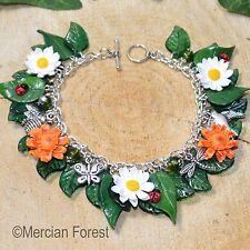 Summer Flowers Daisy and Marigold Bracelet - Handmade Clay, Pagan Jewellery