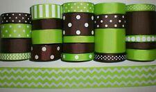 23 Yds Grosgrain Ribbon Mixed Lot Of Chevron Apple Green & Brown Printed Ref B8