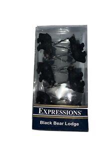 Expressions Black Bear Lodge Shower Curtain Hooks set of 12 NIP