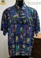 Kahala Avi Collection Hawaiian Specialty Cocktails Blue Button Up Shirt ***Sz XL