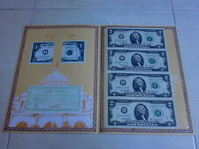 USA UNCUT 4x TWO DOLLAR US$2 banknote with double folder &certificate (UNC) #1