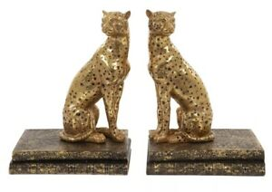 Pair Of Gold Coloured Egyptian Style Black Spotted Leopard / Cheetah Book Ends