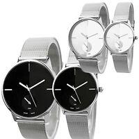 New Elegant Classic Womens Men's Quartz Stainless Steel Wrist Watch B58U