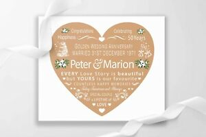 Personalised 50th Golden Wedding Anniversary Parents Canvas Print Gift UK