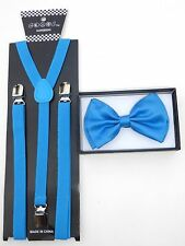 New SUSPENDER & BOW TIE Skinny Thin NARROW Matching Colors COMBO SET US SELLER