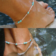 Imitation Turquoise Beads Silver Ankle Beach Bracelet Anklet Foot Chain