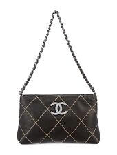 CHANEL LAMBSKIN QUILTED POCHETTE, BLACK.  AUTHENTIC!
