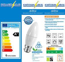 PowerSave Eco LED UK Fitting Bayonet Cap BC B22 Candle Shape Bulbs 6w=40w s8230