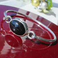 """925 sterling silver bracelet 7.0"""" black onyx bangle vintage handmade 17.9gr"""