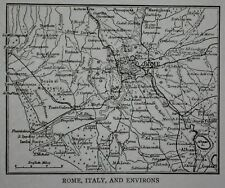 Antique  / Vintage 1928 Small City Map Of Rome, Italy & Environs Post-WWI L@@K!