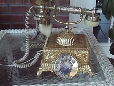 WORKING VINTAGE BRASS FRENCH VICTORIAN STYLE ROTARY DIAL PRINCESS TELEPHONE