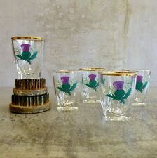 5 Vintage BVB Shot Glasses with Scottish Thistle Design 40mls made in France