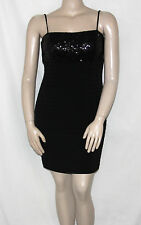 Pre-owned Calvin Klein Size 10 Black Sequin Bust Shutter Pleat Cocktail Dress