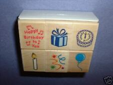 HERO ARTS RUBBER STAMPS 6 BIRTHDAY ICONS wood STAMP SET