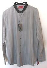 Mens Alfani L/S Gray Striped B/F Shirt, L, NWT