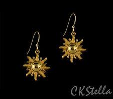 *CKstella*  Radiant Gold Sun O Sole Mio Pewter Dangle 14K Gold gf Hook Earrings