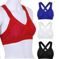 Women Yoga Fitness Stretch Workout Tank Top Criss Cross Back Padded Sports Bra