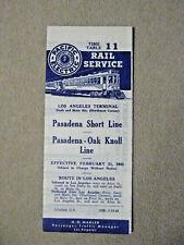 Pacific Electric Pocket Time Table -Pasadena Short Line, Oak Knoll, 2/21/43
