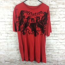 Affliction Mens XL Black Red Crows Distressed Graphic T-Shirt