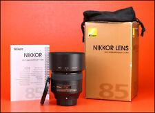 Nikon AF-S 85mm F1.8 G Nikkor Prime Lens + Front & Rear Lens Caps + Hood + Box