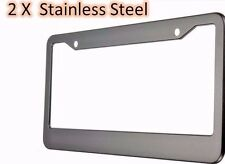 2PCS-License-Plate-Frames-Black-Metal-Stainless-Steel-With-Screw-Caps-Tag-Cover