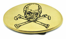 Skull Belt Buckle With Crossed Bones Gothic Solid Brass Authentic Baron Buckles