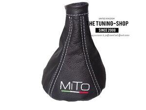 """For Alfa Romeo Mito 2008-2018 Gear Boot Leather """"MiTo Italy"""" White Embroidery"""