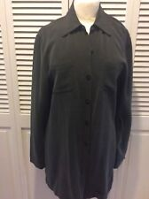 Kasper for ASL Shirt 10 Green Front Button Down  Suede Silk