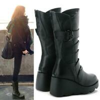 Chic women's round toe buckle mid calf boots platform wedge heels Leather shoe
