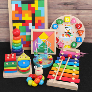 Baby Montessori Toys Colorful Wooden Blocks  Educational Toys For Baby Gifts