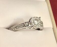 Engagement ring, 10 k white gold, 1/3 ct tw