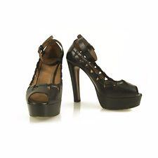 c22aba5e439 ALAIA Black Mary Janes Heels peep toe stitched design platform pumps shoes  37