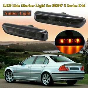 Smoked LED Side Marker Light Indicator Signal Lamp For BMW E46 Sedan Coupe 99-03