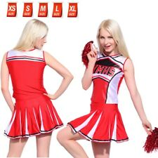 XS - XL RED & WHITE CHEERLEADER OUTFIT Glee Style Cheerios Fancy Dress Costume