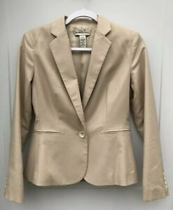 Banana Republic Factory Women's 2 Stretch Beige Lined Blazer One Button Closure